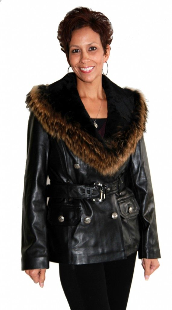 Black Double Breasted Lamb Leather Jacket with Raccoon Fur and Mouton Lamb1