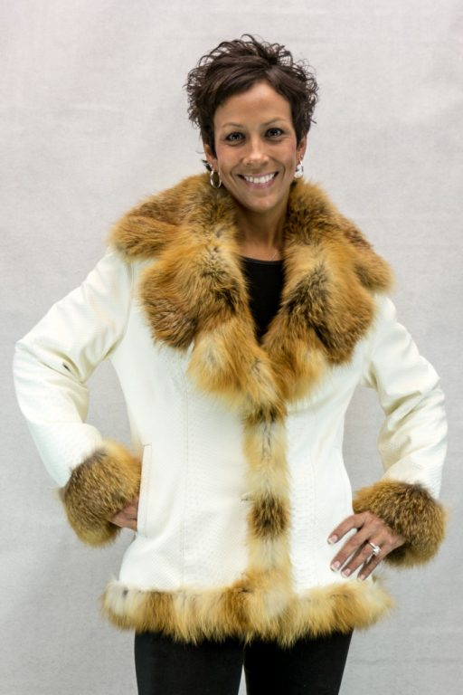W1 oyster crocodile embossed lamb leather 26 jacket with natrual red fox trim2
