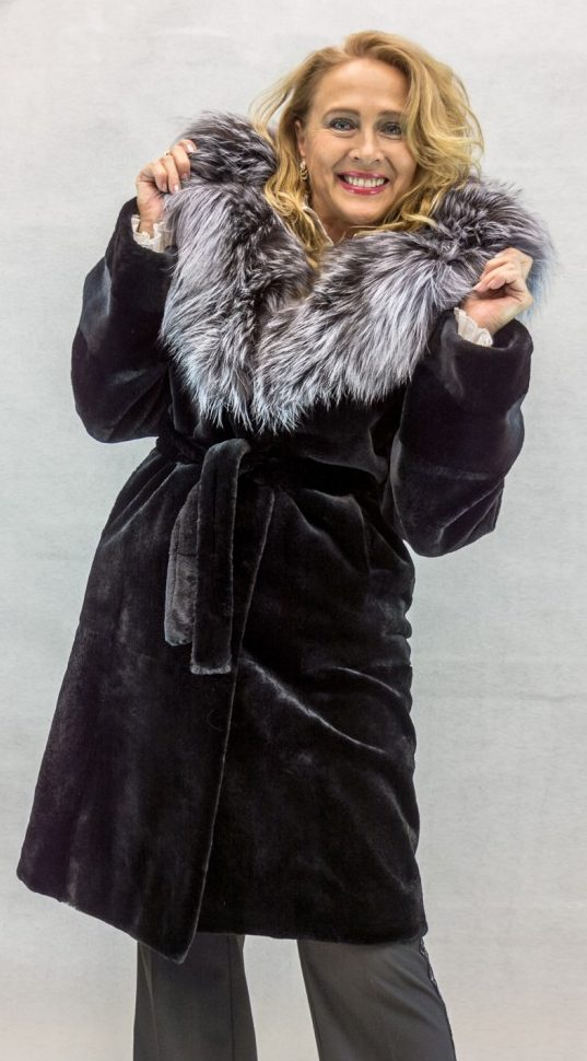 W12 black sheared mink 38 parka with natural silver fox trim2