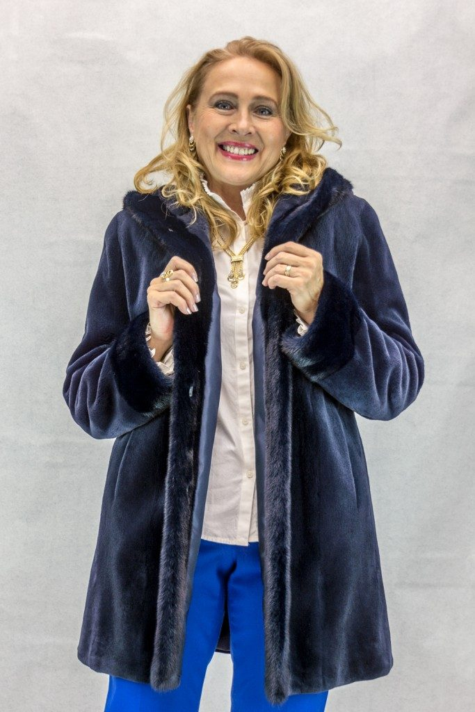"Navy Blue Sheared Letout Mink 32"" Parka with Matching Long Hair ..."
