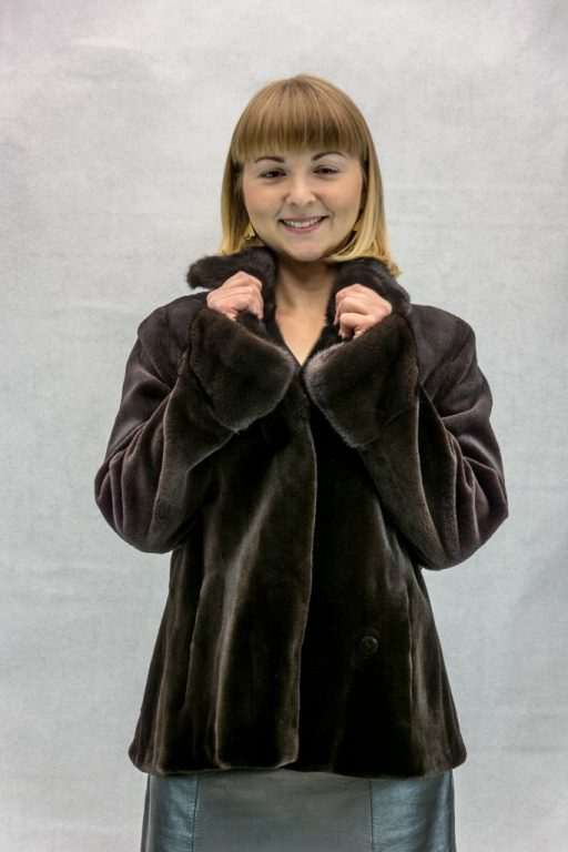 W16 brown sheared letout mink 24 shaped jacket with natural lunariaine mink collar and cuffs2