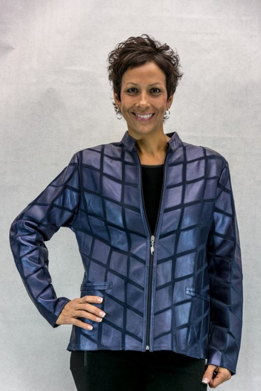 W24 pacific blue lamb leahter on mesh zip jacket2