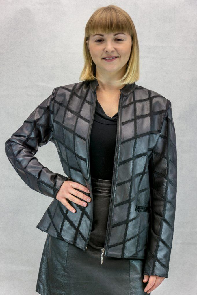 W25 black lamb leather on mesh zip jacket2