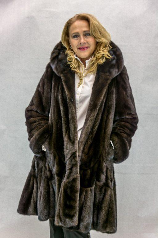 W26 natural dark lunaraine letout female mink 38 coat with swirl flounced hem2