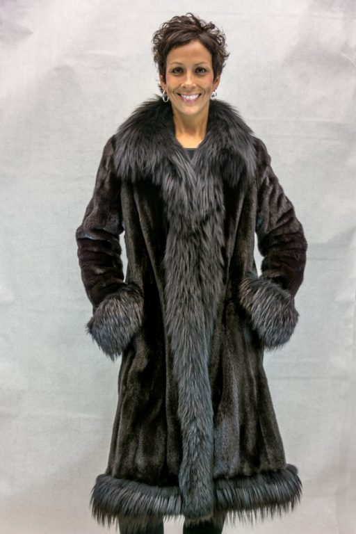 W32 blackglama ranch letout female mink 42 coat with black silver fox tuxedo2