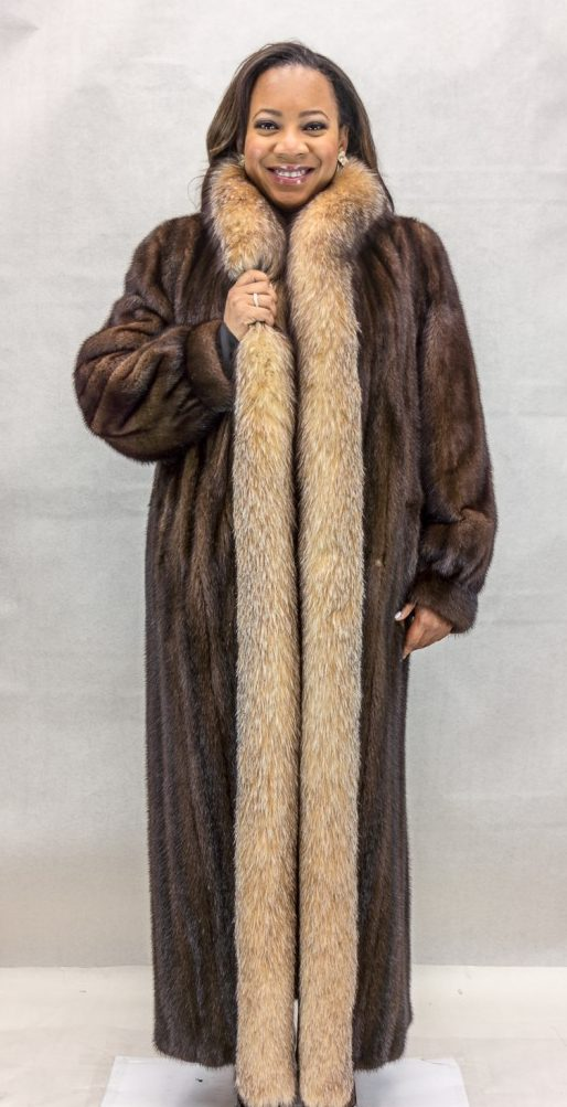 W37 natural dark lunaraine letout female mink 52 coat with crystal fyed fox tuxedo trim2
