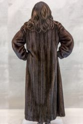 W37 natural dark lunaraine letout female mink 52 coat with crystal fyed fox tuxedo trim3