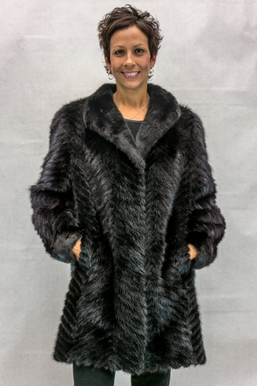 W43 black ranch mink tail cheveron design 34 coat with full mink shawl style collar and trim2