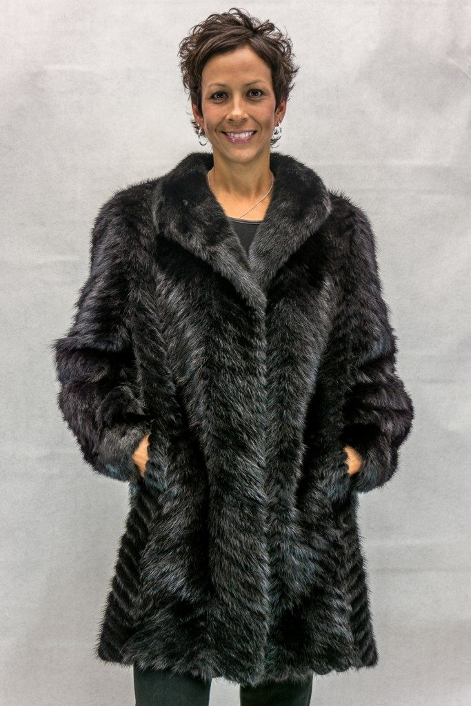 "Black Ranch Mink Tail Chevron Design 34"" Coat with Full Mink Shawl ..."