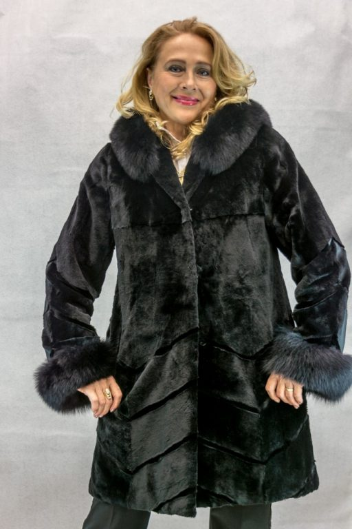 W5 black sheared mink 35 parka with black fox trim on hood and cuffs2