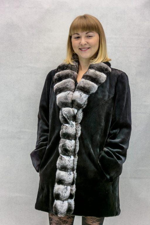 W6 black sheared letout mink 32 stroller with natural chinchilla cross cut tuxedo2