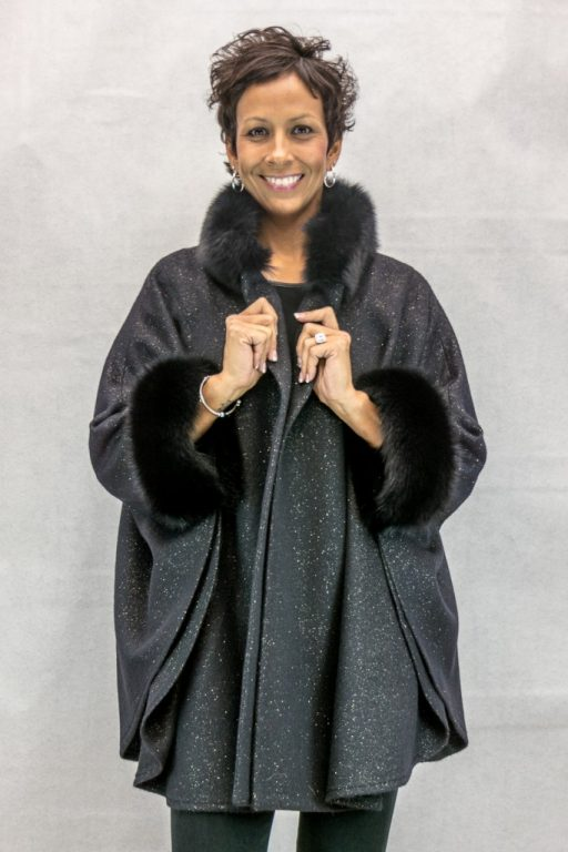 W64 black wool 32 cape with gold speckled detail and black fox trim2