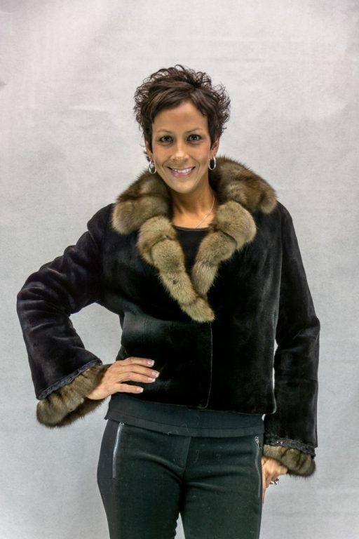 W7 black sheared letout mink 21 bolero with sable cross cut collar and cuff2
