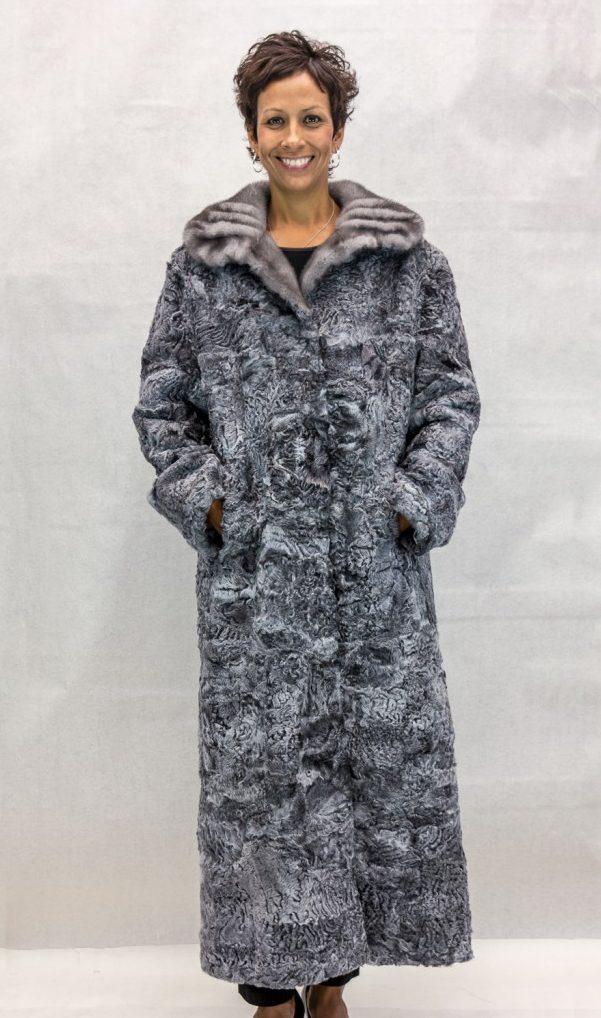 W74 grey persian lamb sections 53 coat with natural grey gathered shawl collar2