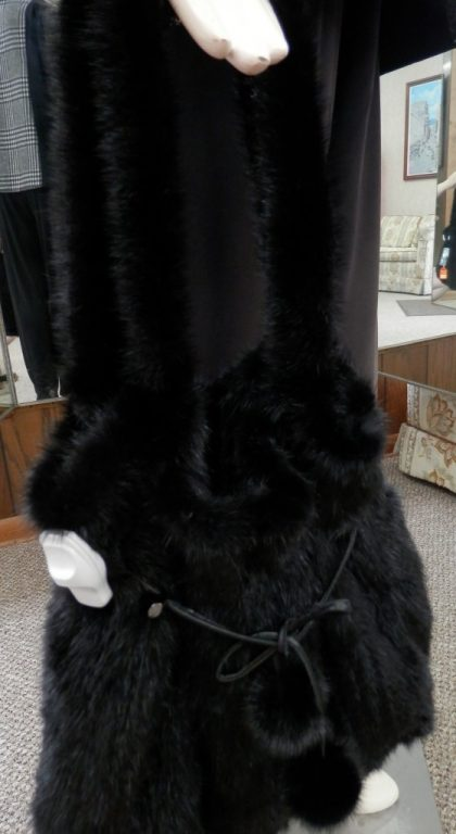 Belle Fare Black Mink Fur Large purse1