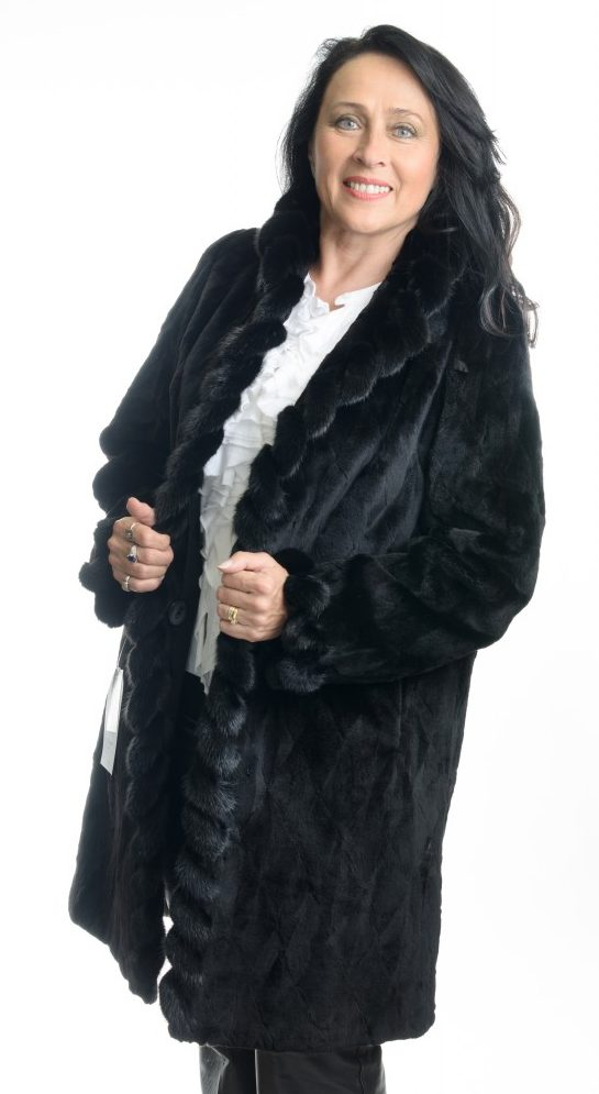 Black 36 dyed Sheared Sculptured Mink Stroller with Long Hair Mink Whip Stitch reverses to taffeta silk1