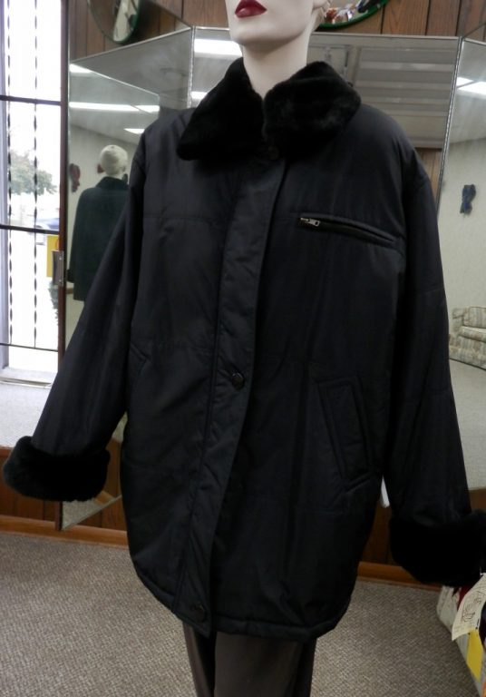 Black Nylon Jacket with Nutria and Removable Rabbit Liner1