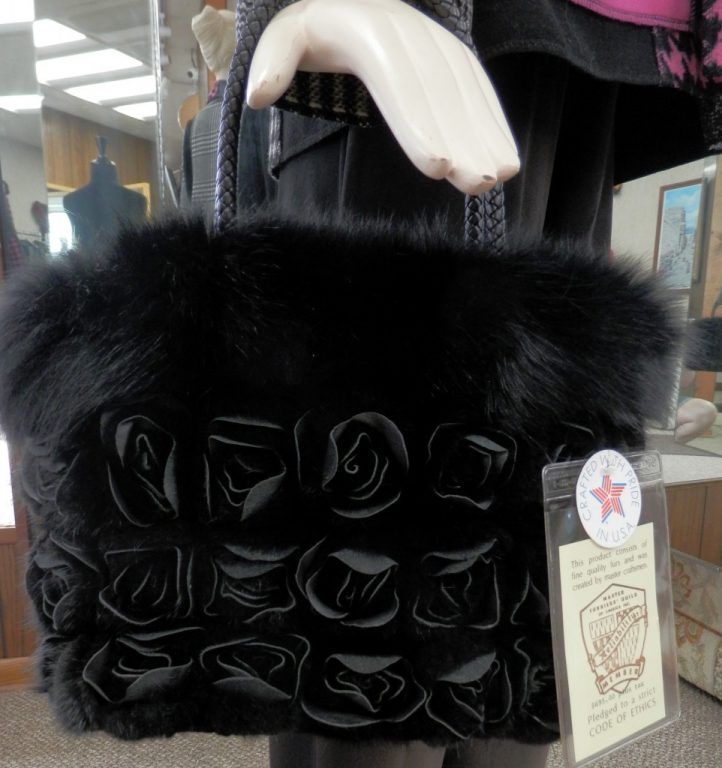 Black Ranch Mink Purse with Rosette Leather Detail1