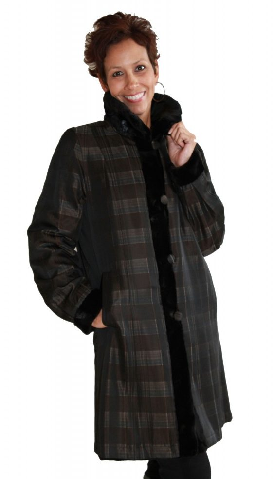 Black Sheared Oval Mink 36 Sections Coat with Detachable Mink Hood Reverses to Plaid Taffeta Silk4
