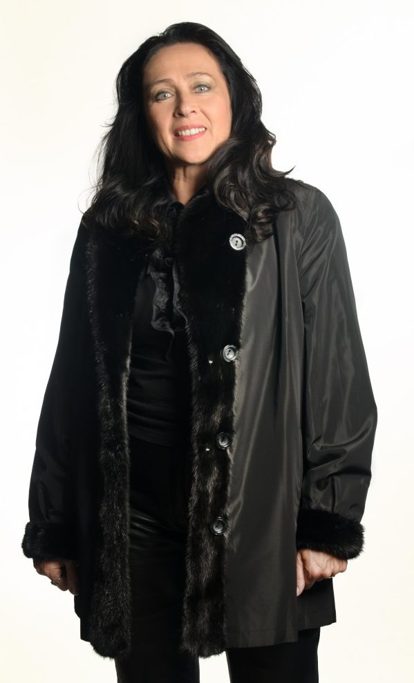 Black dyed 32 Sheared Mink Jacket with Black Mink Trim reverses to Black Taffeta Rain Silk2