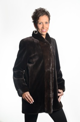 Brown 32 sheared mink jacket with natural brown mink trim reverses to taffeta silk1