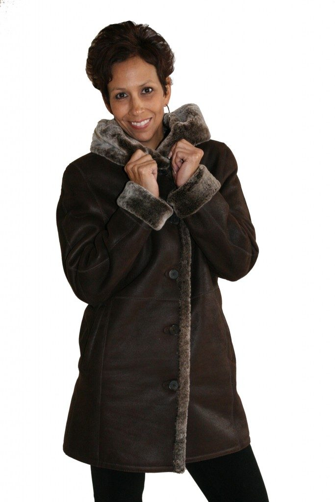 Brown Iron Suede 32 Shearling Parka with Frosted Liner1