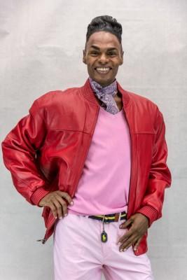 M2 red cabretta lamb 27 zip jacket with mandarin collar2