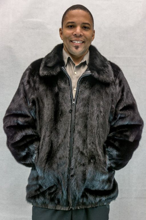 M21 black ranch letout 30 mink zip jacket- reverses to black cabretta lamb leather2