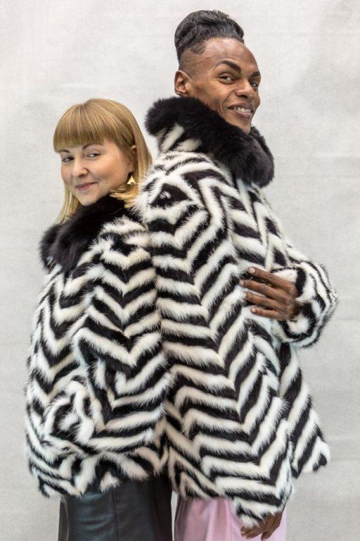 M22 black and white chevron design mink tails 28 zip jacket with black fox collar4