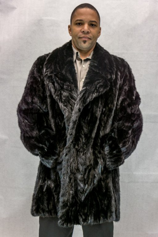 M23 black ranch mink sections 38 car coat with notch collar2