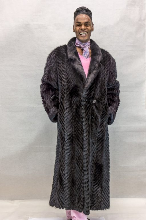 M24 black ranch mink tail cheveron design 56 coat with full mink collar2