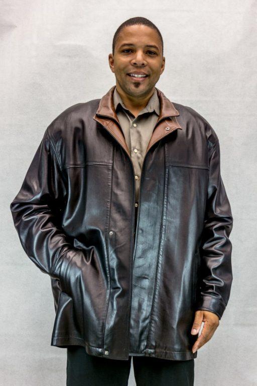 M6 black baretta lamb 53 leather coat with detachable ranch mink notch collar2