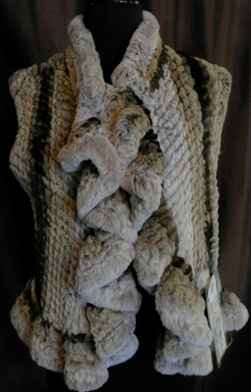 "Natural Rex Rabbit 21"" Vest with Ruffle Detail1"