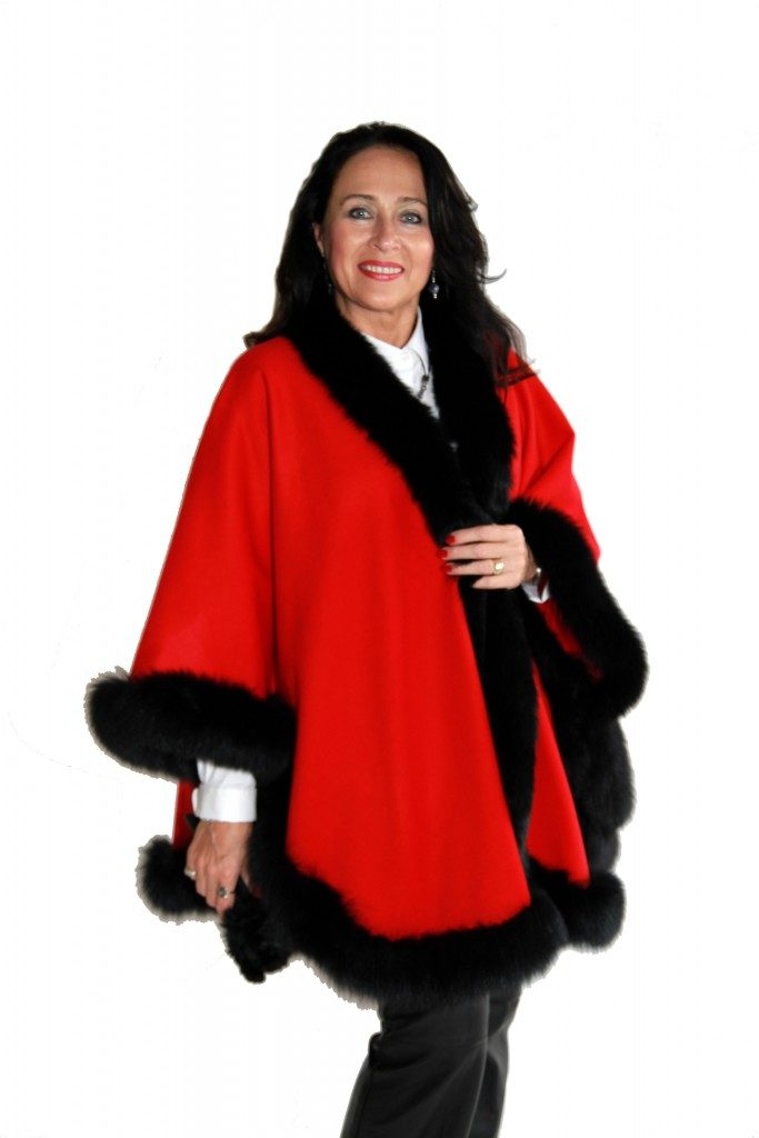 Red Cashmere 34 Cape with Black dyed Fox Trim1