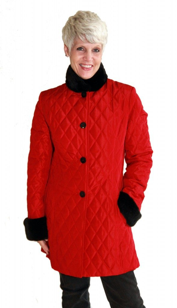 Red Taffeta Rain Silk 32 Quilted Diamond Design Jacket1