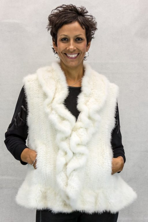 W90 Natural White Knitted 24 Mink Vest with Ruffle Trim2