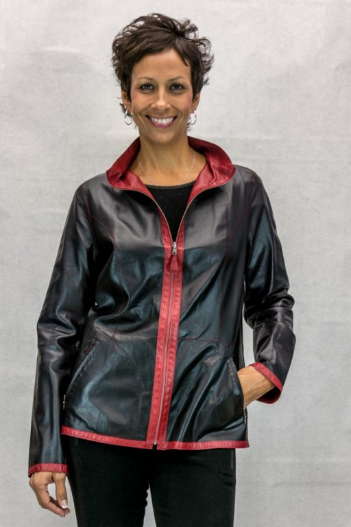 W91 Vericci Reversible Black to Red Goat Leather 26 Zip Jacket2