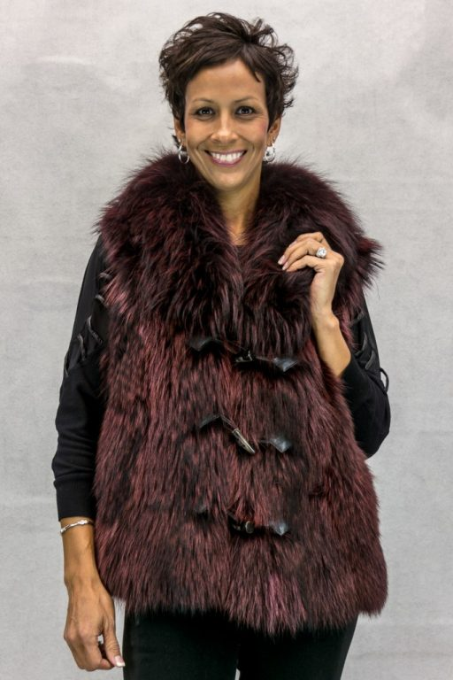 W94 Burgundy 24 Finn Raccoon Vest wtih Shawl Collar2