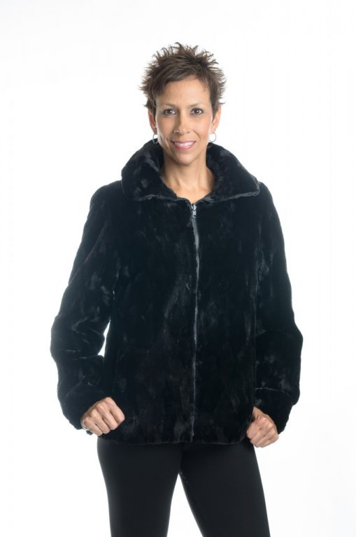 black 25 sheared diamond cut mink zip jacket1