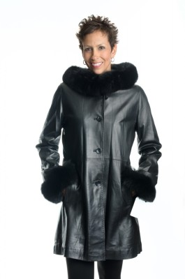 black 35 lamb nappa leather shaped parka stroller with black dyed fox trim on hood and cuffs1