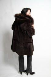 brown 34 sheared and plucked mink parka stroller with raccoon trim2