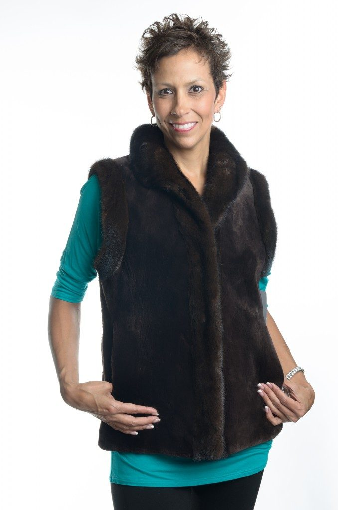brown dyed 25 sheared mink vest with natural ranch mink tuxedo1