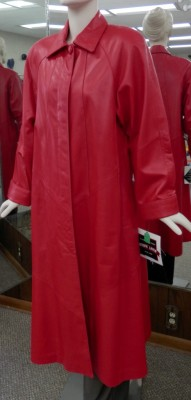 red full legnth leather coat1