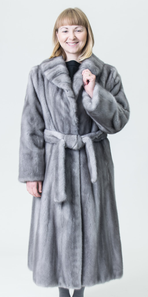 "Natural Sapphire Grey Letout 45"" Shaped Mink Coat with Cross Cut ..."