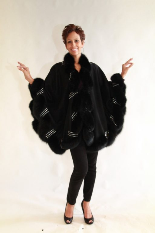 Black Cashmere 34 Cape with Black dyed Fox Trim with Swarovski Crystals Detail1