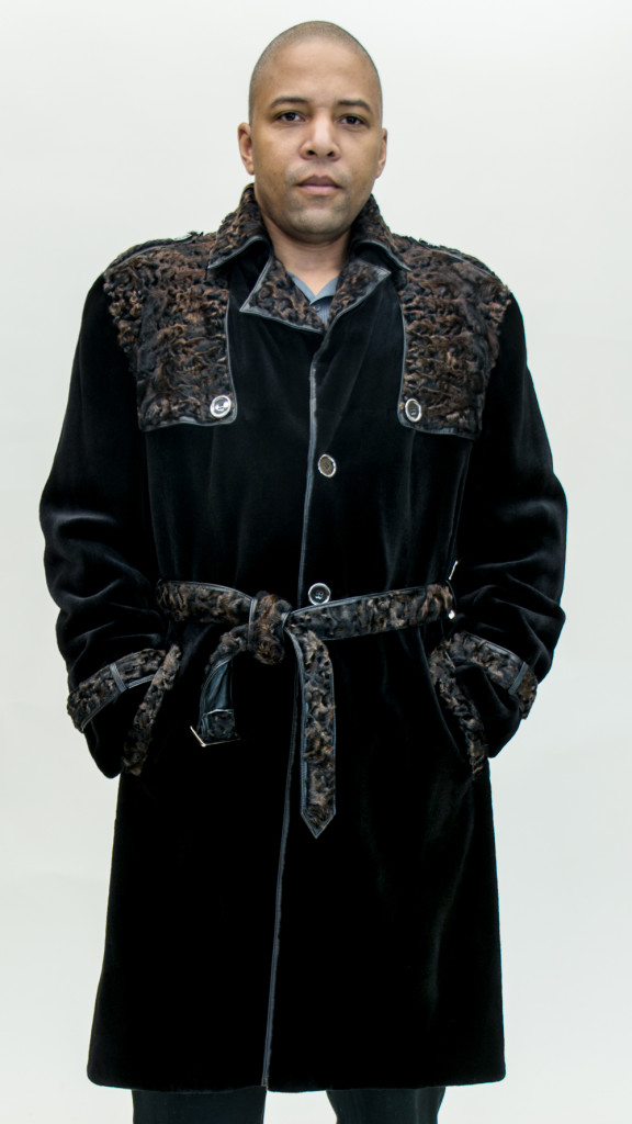 """Black dyed Sheared 44"""" Man's Mink Trench Coat with Natural Black ..."""