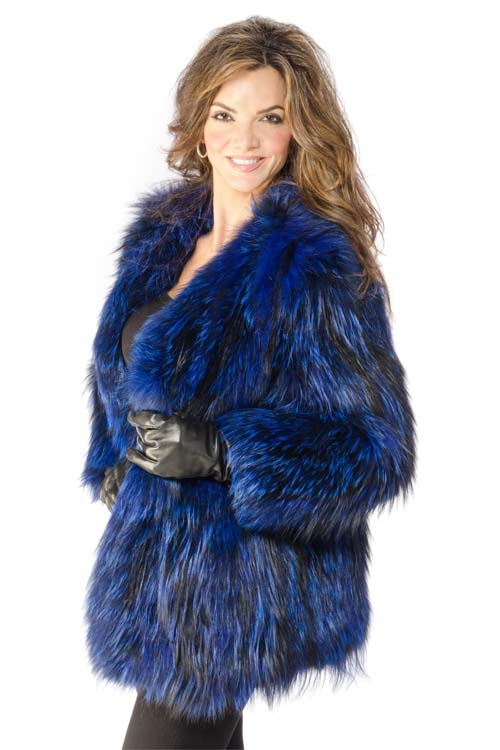 30″ Adrienne Landau® Knit Blue dyed Silver Fox Collarless Jacket ...