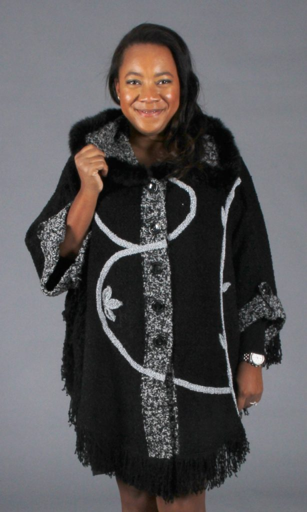 """Black and Grey Acrylic 32"""" Cape with Black dyed Rex Rabbit Trim with Fringe Detail at Hem"""