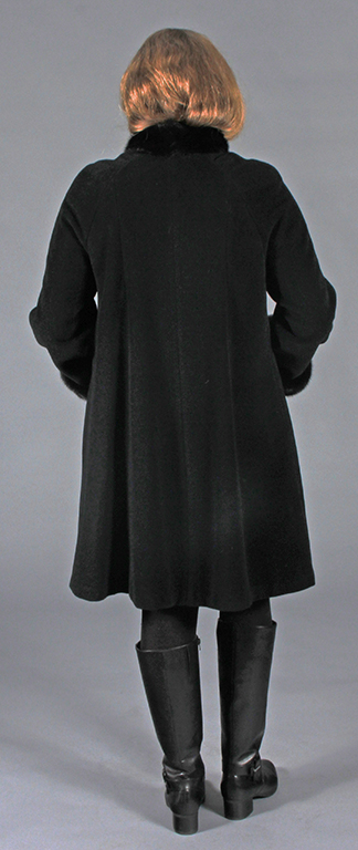 "Black 25% Cashmere & Angora Wool 38"" Swing ""A Line"" Style Coat ..."