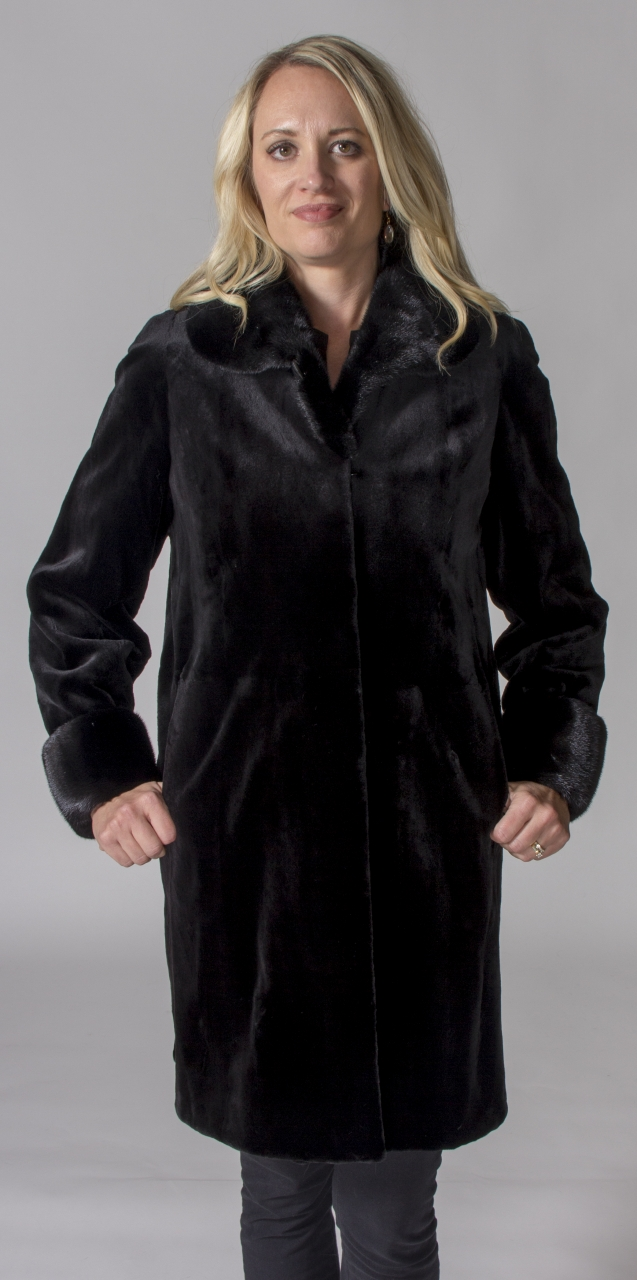 "Black dyed Sheared Letout 36"" Mink Coat with Natural Dark Ranch ..."